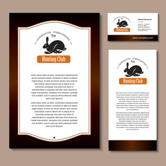 Hare, rabbit. Vector logo, logo. A hunting club. Set of corporate identity element