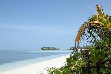 Tropical Beach with White Sand, Turqoise Water and Tropical Vegetation. Bodufinolhu, aka Fun Island, South Male Atoll, Maldives