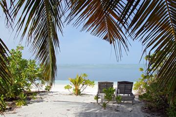 Deckchair on a Tropical Beach. Bodufinolhu (Fun Island), South Male Atoll, Maldives