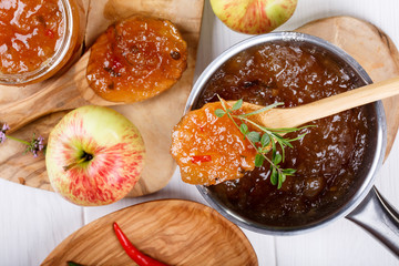 Chilli pepper apple jam with herbs.