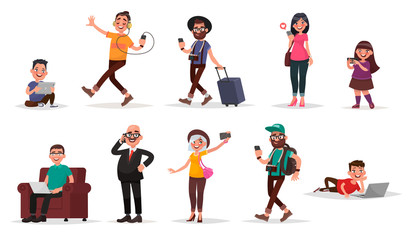 People and gadgets. Set of children, youth and adults with their