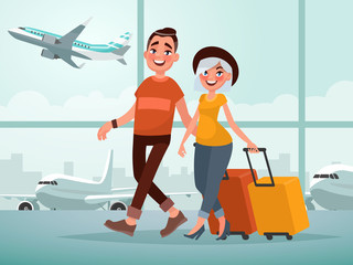 Traveling couple of young people. Man and woman with luggage are