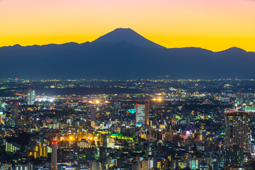 Tokyo at sunset with Mount Fuji on background. Japan