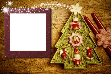 Christmas photo frame cards, cheerful tree
