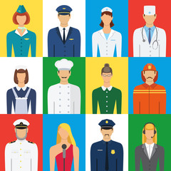 Set of colorful profession people flat style icons vector illust