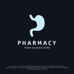 Stomach health logo, abstract vector logo design template icon of company identity symbol concept for therapy service, pharmacy, hospital, medical clinic or any natural health care business