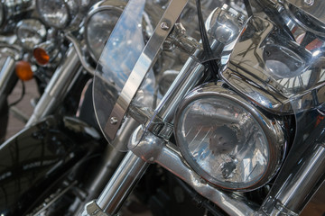 Motorbike Harley detail chromed plated iron metal