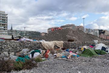 Migrant tent in Genoa, Italy