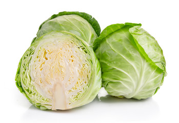 Green cabbage vegetables isolated on white