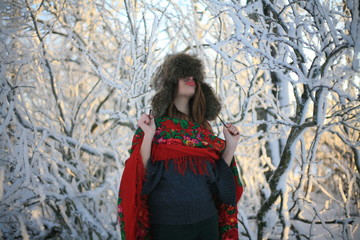 Girl in red winter scarf