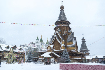 """Wooden church inside the iconic complex """"Kremlin in Izmailovo"""" a"""