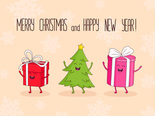 Christmas and New Year characters gift, ball and Christmas tree. Vector illustration with lettering