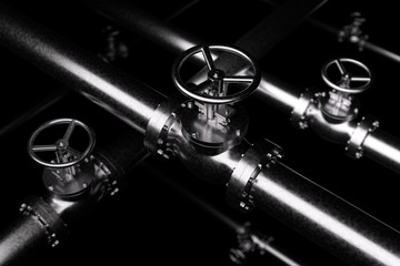 Black Valves Background, steel pipes series with  black valves and selective focus effect, focuse on valve, shallow depth of field, industrial 3D illustration