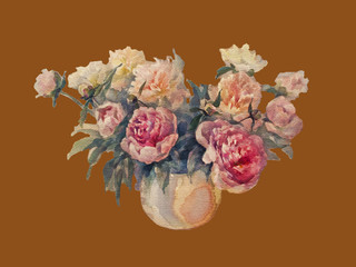 bouquet of peonies watercolor vintage isolated