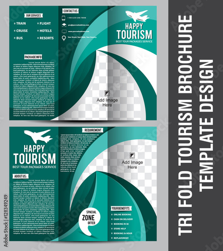 Tri Fold Tourism Brochure Template Design Stock Image And Royalty