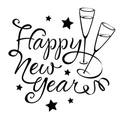 Happy New Year - Callygraphy with stars and champagne glasses