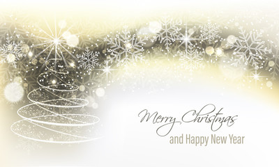 Christmas and New Year vector banner with christmas tree.