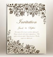 Floral hand-draw wedding invitation. a beautiful hand drawn wedding invitation ,suitable also for congratulation,greeting cards