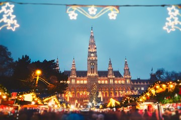 Foto op Canvas Wenen Christmas market in Vienna