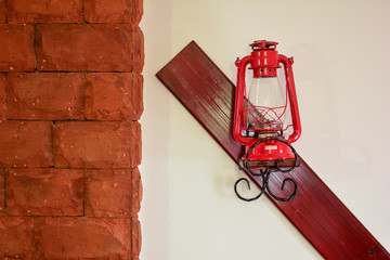 Red latern on the wall