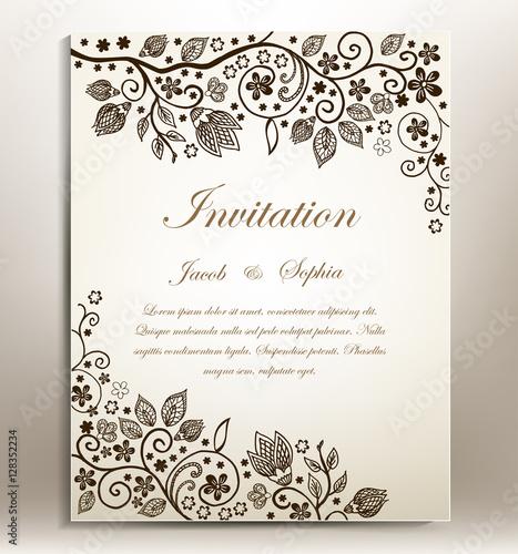 Floral hand-draw wedding invitation. a beautiful hand drawn wedding ...