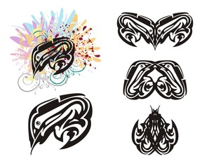 Grunge fish and twirled fish symbols. Stylization of fish with colorful feathers and blood  drops and double symbols of fishes