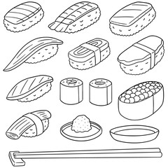 vector set of rice with raw fish (sushi)