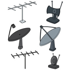 vector set of satellite dish and antenna