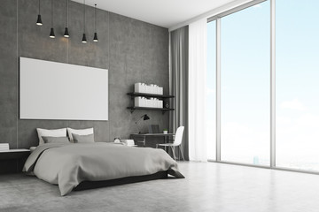 Bedroom with concrete wall and floor
