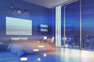 Bedroom with panoramic window and cityscape, toned