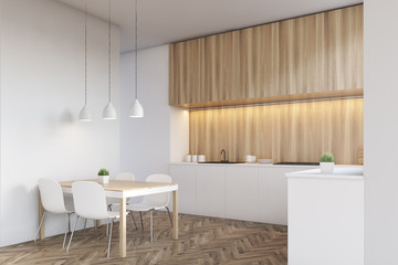 Side view of a light wood kitchen interior