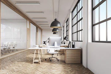 Front view of a long office with wooden floor