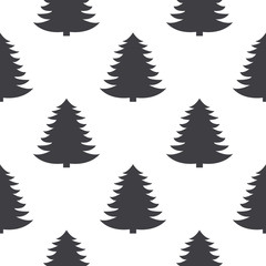 Seamless pattern with pine trees in black and white.Vector illustration