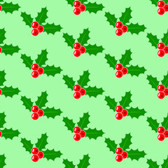 Christmas Mistletoe pattern, Seamless holiday pattern with abstract branches of mistletoe