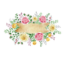 Watercolor floral frame with rose bouquet. Great start for wedding and other cards