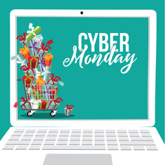 Cyber Monday background flat laptop with pile of gifts design. EPS 10 vector.