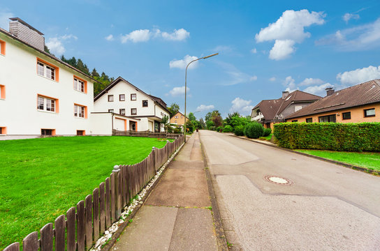 Wide angle view of a street in a German village