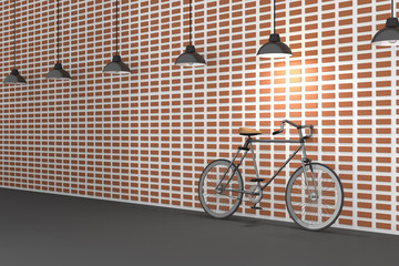 3D rendering : illustration of retro bicycle and vintage lamp hanging on the roof against of the red brick wall.background.hipster