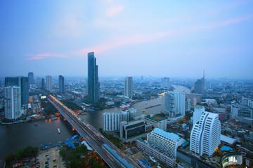 top view of bangkok skyscraper and traffic crossing chaopraya ri
