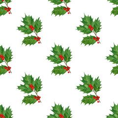 christmas seamless pattern with holly berries and leaves in watercolor.