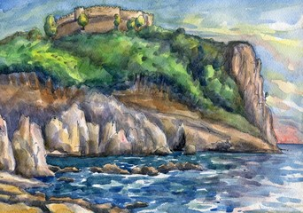 Seascape with a fortress on top of a cliff. Watercolor painting