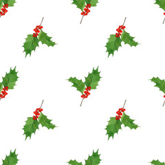 watercolor seamless pattern with hand draw Christmas and New Year elements.:holly berries and leaves.