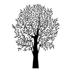 black tree, silhouette natural plant sign, isolated vector