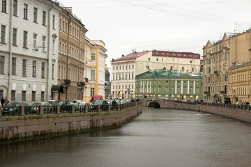 Saint-Petersburg. Russia. November 27 2016. View of Moyka river
