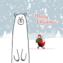 Christmas card with white santa and white bear