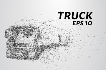Truck of the particles. A truck consists of small circles. The wind carries a piece of the car. Vector illustration