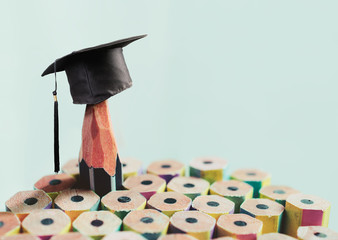 congratulations graduates background, inscription in pencil and