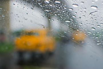 Rainy street of Kolkata, West Bengal, India