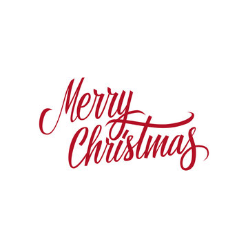Merry Christmas calligraphic lettering design card template. Creative typography for holiday greetings. Vector illustration.