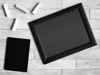 Black and white chalkboard. 3D illustratio